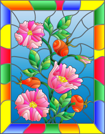 dogrose: Illustration in stained glass style with flowers , berries and leaves of wild rose in a bright frame