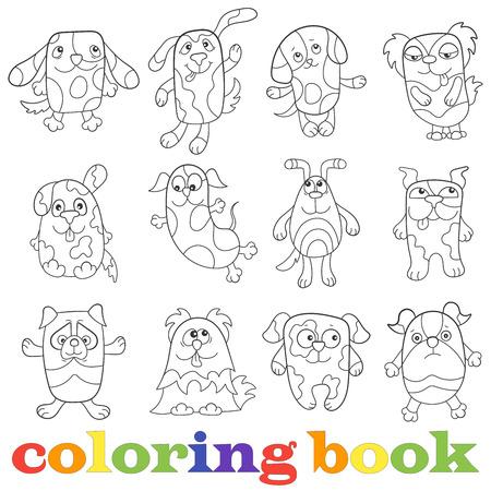 Ilustración Con Conjunto De Perros Divertidos De Contorno, Libro ...