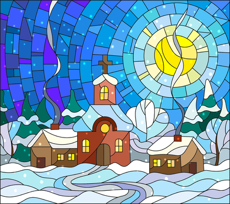 Winter landscape in stained-glass style Church and village houses on the background of snow, sky and sun