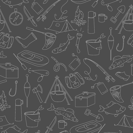 Seamless pattern on the theme of fishing, a simple hand-drawn contour icons on dark background