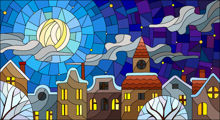 Illustration in stained glass style, urban landscape,snow-covered roofs and trees against the night sky, moon and clouds