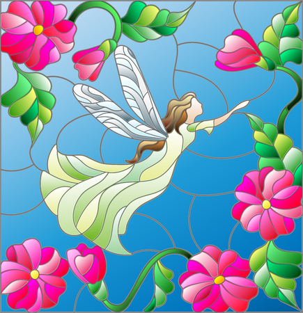 Illustration in stained glass style with a winged fairy in the sky, flowers and greenery