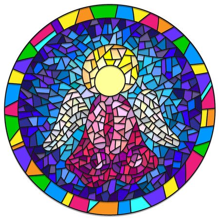 style: Illustration in stained glass style Christmas angel