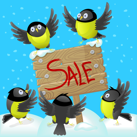 Winter illustration with tomtits and wooden banner, concept of holiday sales Illustration