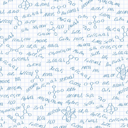 Seamless pattern on the theme of the subject of chemistry, hand-written formulas of substances, and images of molecules on a white background Illustration