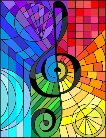 Abstract image of a treble clef in stained glass style rainbow background Векторная Иллюстрация