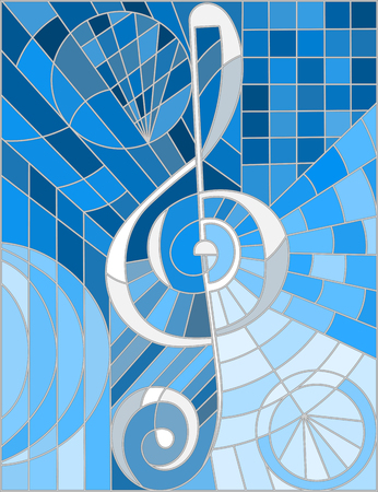 substrate: Abstract image of a treble clef in stained glass style blue gamma
