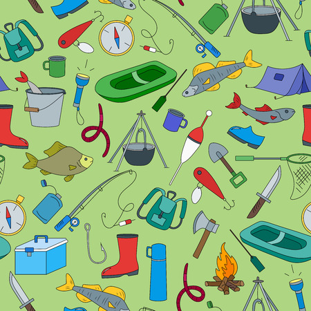 Seamless pattern on the theme of fishing, a simple hand-drawn icons on green background
