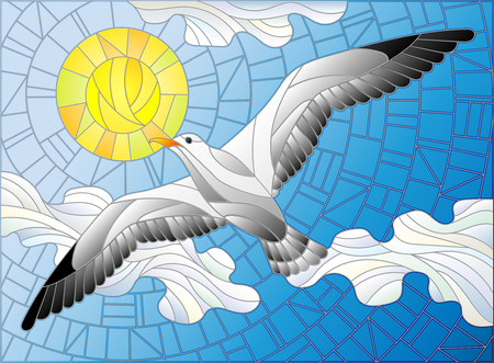 Illustration in stained glass style Seagull on the background of sky, sun and clouds