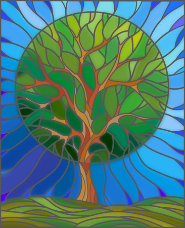 Illustration in stained glass style with tree on sky