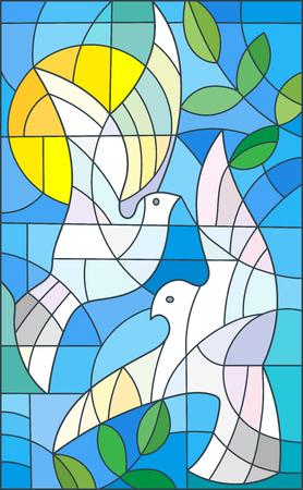 Illustratie in gebrandschilderd glasstijl met abstracte duiven, de zon en de takken