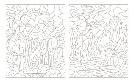 stained glass windows: Set contour illustration of stained glass Windows with mountain scenery Illustration