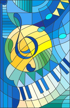 Abstract image d'une clé de sol dans le style vitrail Banque d'images - 68049381
