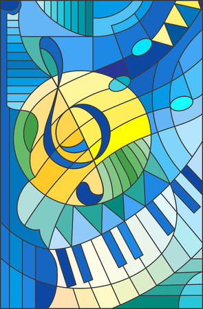 Abstract image of a treble clef in stained glass style Stok Fotoğraf - 68049381