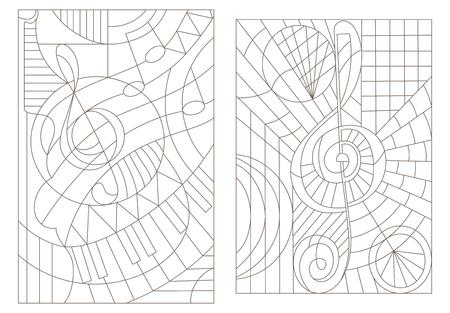 고음 음자리표로 음악 테마에 대한 윤곽 일러스트를 설정하십시오.