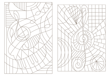 Set contour illustrations on the theme of music with the treble clef