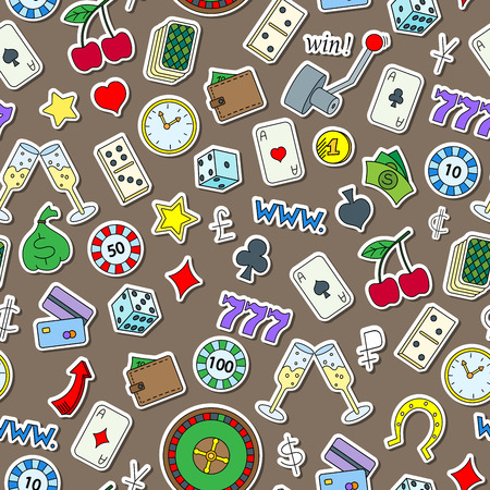 Seamless pattern on the theme of gambling and money simple painted icons on a brown background Illustration