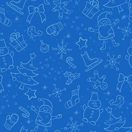 Seamless pattern on the theme of New year and Christmas, simple hand-drawn contour icons on a blue background