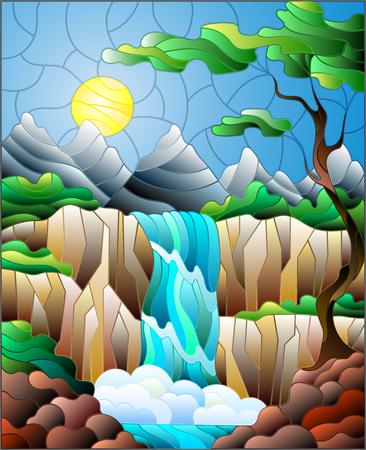 스테인드 글라스 스타일 풍경, 폭포, 산, 태양 및 하늘 배경에 나무에서 그림