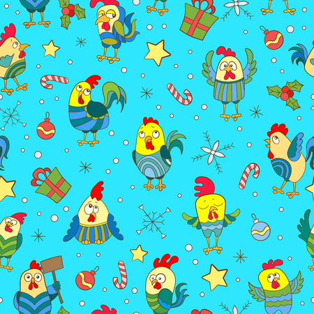Seamless background with funny cartoon Cockerel and snowflakes on a blue background
