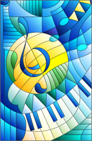 Abstract image of a treble clef in stained glass style