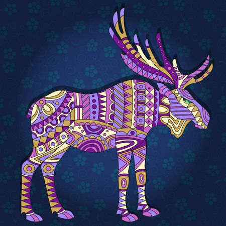 Illustration with abstract moose on a dark blue floral background Illustration