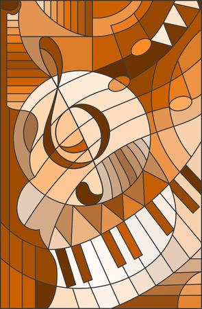 ステンド グラス スタイル、茶色のトーンでト音記号の抽象的なイメージ