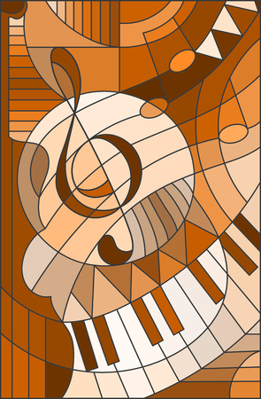 Imagen abstracta de una clave de sol en las vidrieras de estilo, tono marrón