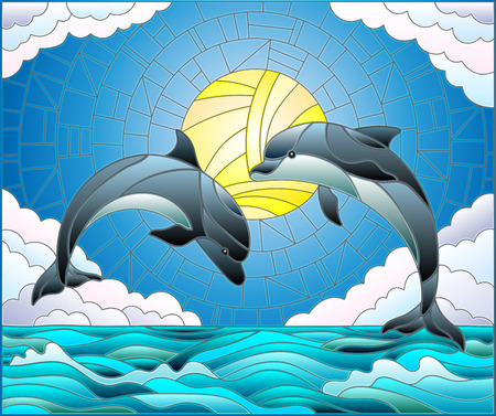 Illustration in stained glass style with a pair of dolphins on the background of water ,cloud, sky and sun