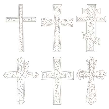 The illustrations in the stained glass style with a contoured Christian crosses