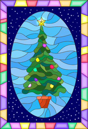 Illustration in stained glass style with the decorated Christmas tree in a bright frame