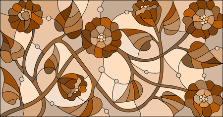 horizontal orientation: Illustration in stained glass style with  flowers,monochrome Sepia, horizontal orientation Illustration
