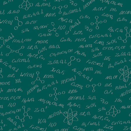 substances: Seamless pattern on the theme of the subject of chemistry, hand-written formulas of substances, and images of molecules on a green  background
