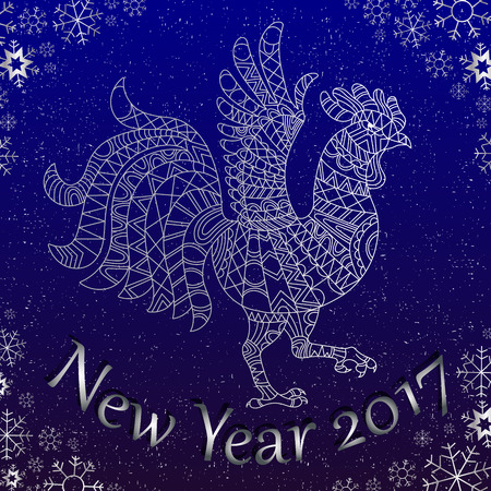 Illustration with abstract contour rooster the symbol of the new 2017 years on the background of snowflakes with lettering , silver outline on blue background Vettoriali