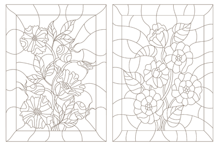 wild rose: Set contour illustrations in the stained glass style, zinnias  and wild rose, dark outline on a white background Illustration