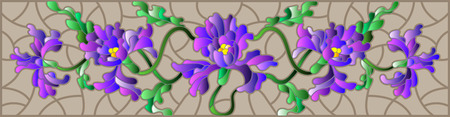 horizontal orientation: Illustration in stained glass style with flowers, buds and leaves of iris on a brown background, the horizontal orientation
