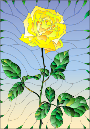 petal: Illustration in stained glass style flower of yellow rose on a sky  background