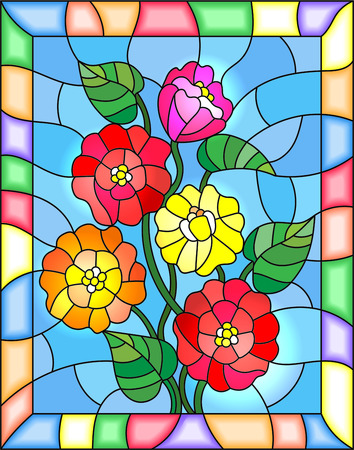 Illustration in stained glass style with flowers, buds and leaves of  zinnias on a blue background