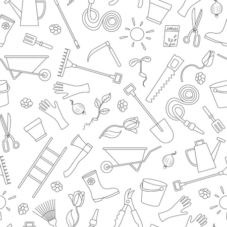 Seamless pattern on the theme of the garden , planting and growing harvest, a simple contour icons , black contour on white background Illustration