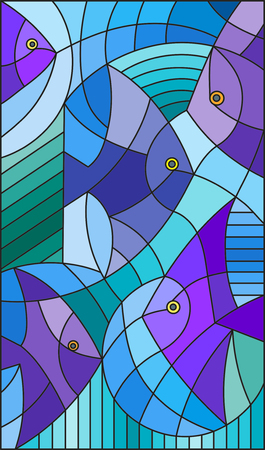 Illustration in stained glass style abstract fish
