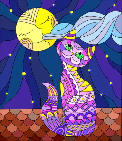stained glass windows: Illustration in stained glass style with purple cat sitting on the roof of the house in the background of the moon and the sky