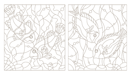 Set contour illustrations of stained glass with aquarium fish,fish surgery and fish clowns Çizim