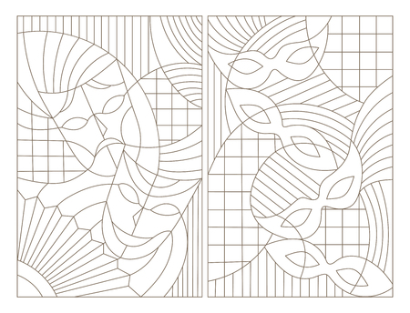 Set contour illustrations of the stained glass Windows on the theme of the carnival with abstract masks Stok Fotoğraf - 68418252
