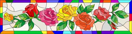 ステンド グラス仕立て、ブライト フレームのバラの花や葉のイラスト