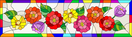 horizontal orientation: Illustration in stained glass style with flowers,buds  and leaves of  zinnias in a bright frame,horizontal orientation