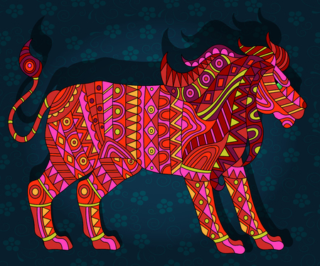 Illustration with abstract red lion on a dark blue floral background Illustration