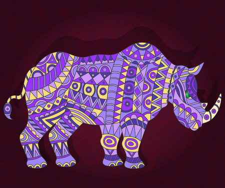 Illustration with abstract rhino on a dark floral background Illustration