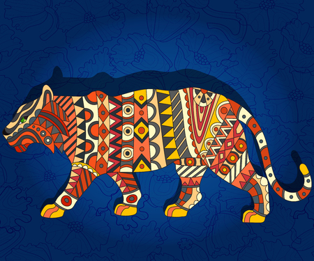 Illustration with abstract tiger on a dark blue floral background Illustration