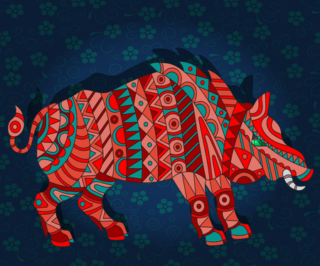 Illustration with abstract wild a red pig on a dark blue floral background