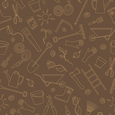 all in: Seamless pattern on the theme of the garden , planting and growing harvest, a simple contour icons , beige contour on brown background